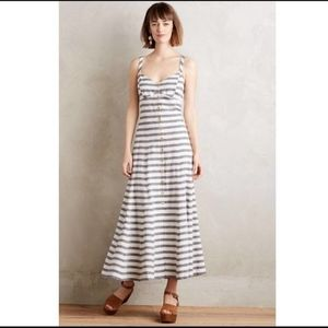 Anthropologie Maeve striped linen maxi dress 8